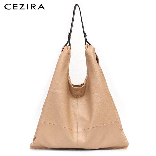 CEZIRA Fashion Large Shoulder Bags Women Vegan Leather Hobo Soft High Quality PU Casual Ladies Top handle Handbags Shopping Bags