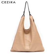 CEZIRA אופנה גדול כתף שקיות נשים טבעוני עור נווד רך באיכות גבוהה PU מקרית גבירותיי למעלה ידית תיקי קניות שקיות