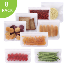 Snack Bag Lunch-Bags Food-Bag Ziplock PEVA Bpa-Free Reusable Silicone Leakproof for 8pcs