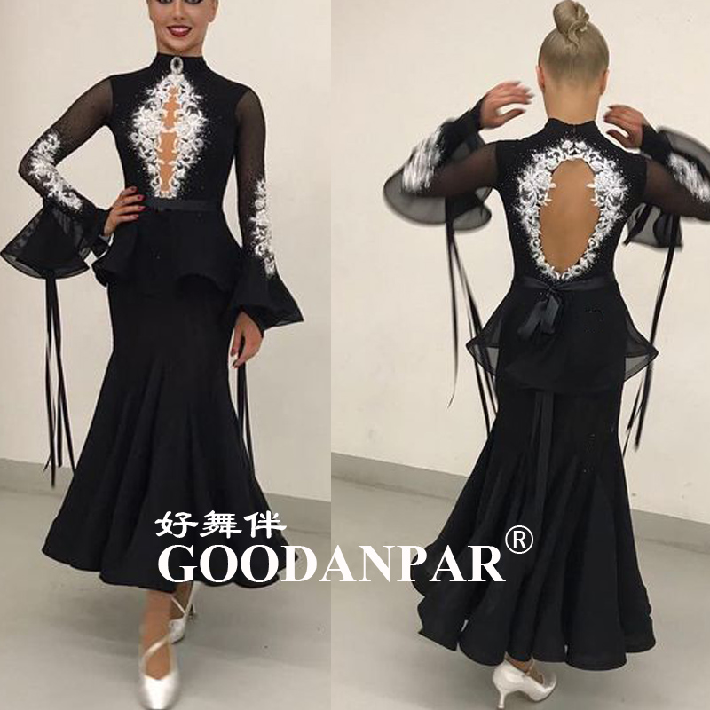 GOODANPAR New Custom-made Ballroom Dress Standard Drag Queen Costumes  Waltz Tango Quickstep Dance Dress Black  Flare Sleeve