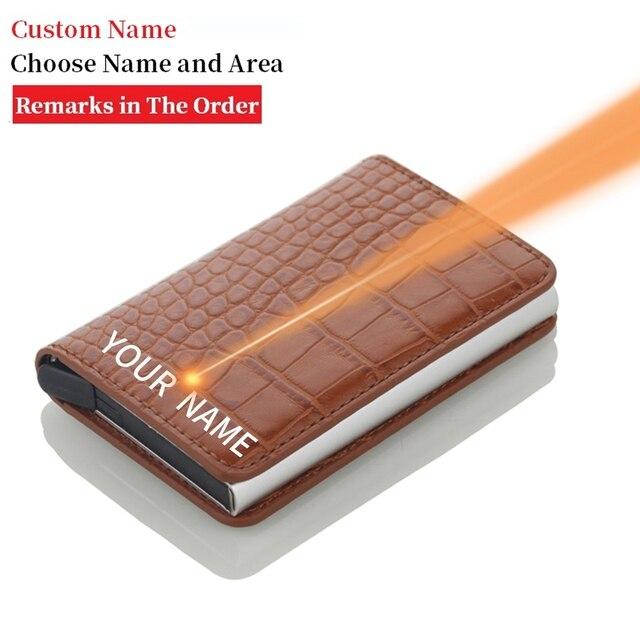 Rfid Blocking Credit Card Holder Men Wallets Slim Thin Business Leather Metal Cardholder Pocket Case Magic Smart Wallet 4