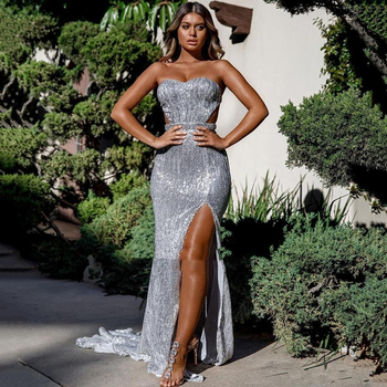Bling Sparkle Silver Sequins Evening Dresses Sexy Sweetheart Backless Split Long Formal Prom Gowns vestidos de gala 2019