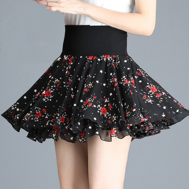 Elastic High Waist Swing Floral Chiffon Black Pleated Short Skirts Womens Kawaii Japanese School Girl Mini Skirt Skorts C474
