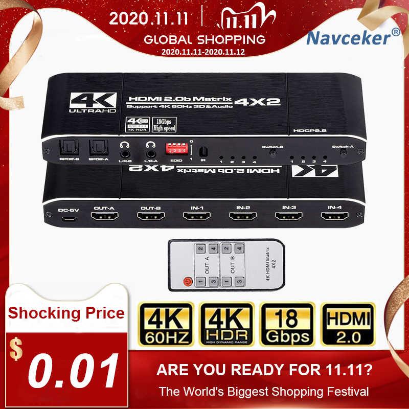 Interruptor Divisor Hdr De 2020 Matriz Hdmi 4x2 4k 60hz 4 En 2 Salidas Yuv 4 4 4 Spdif Optico Jack De 3 5mm Conmutador Hdmi Cables Hdmi Aliexpress
