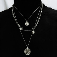 Fashion Safety Pin Geometric Coin Portrait Pendant Necklaces Chocker For Women Trendy Punk Multilayer Chain Necklaces Jewelry