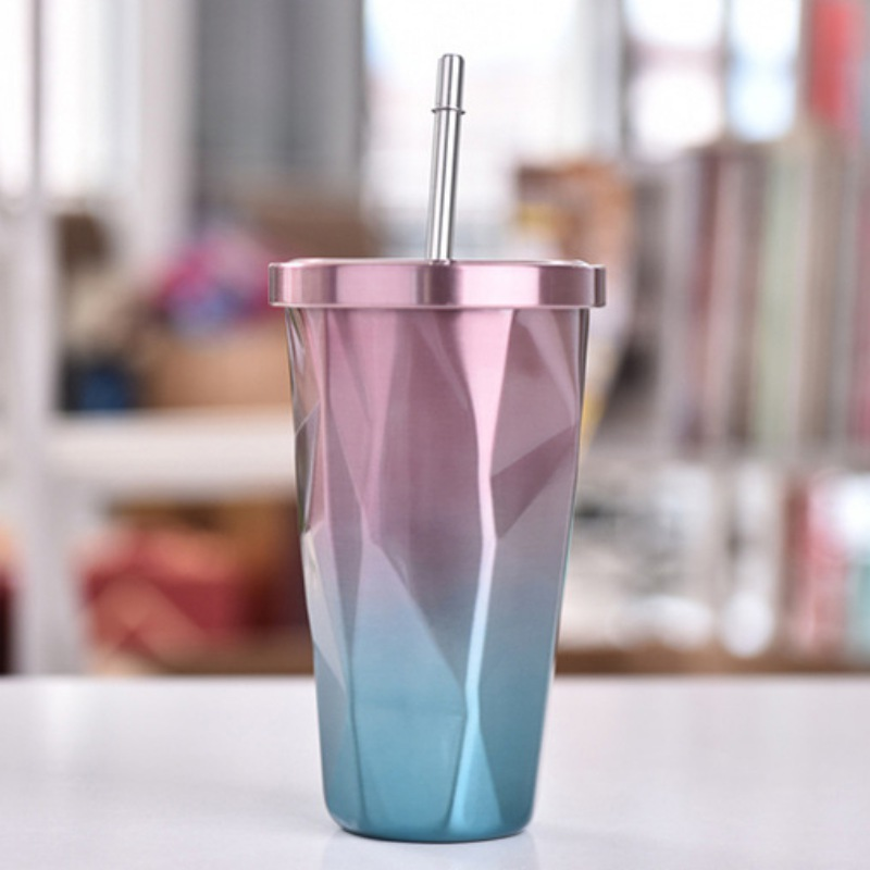 Colorful Stainless Steel Drinking Cup with Lid and Straw Tumbler Hot Cold Double Wall Vacuum Insulation Coffee Mug Water Flask - 2
