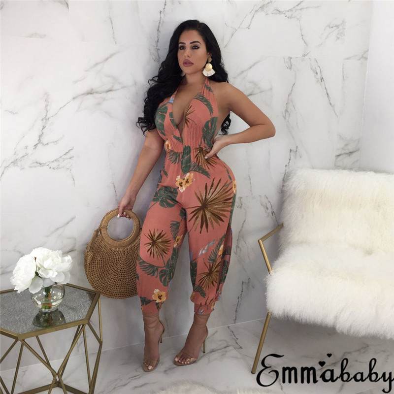 Trendy Women Rompers Clothes V-neck Sleeveless Backless Ladies Party Geometry Jumpsuit Backless Summer Romper One Pieces