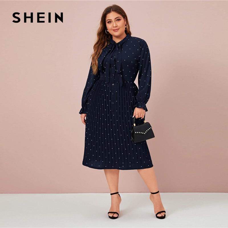 SHEIN Plus Size Navy Polka Dot Tie Front Pleated Shirt Dress Women Spring Long Sleeve Solid A-line Elegant Office Long Dresses SHEIN Women Women's Clothings Women's Shein Collection cb5feb1b7314637725a2e7: Navy