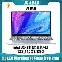 KUU A8S 15.6 inch Student Laptop 8GB RAM 128GB256GB SSD Notebook For intel J3455 Quad Core Ultrabook With Webcam Bluetooth WiFi