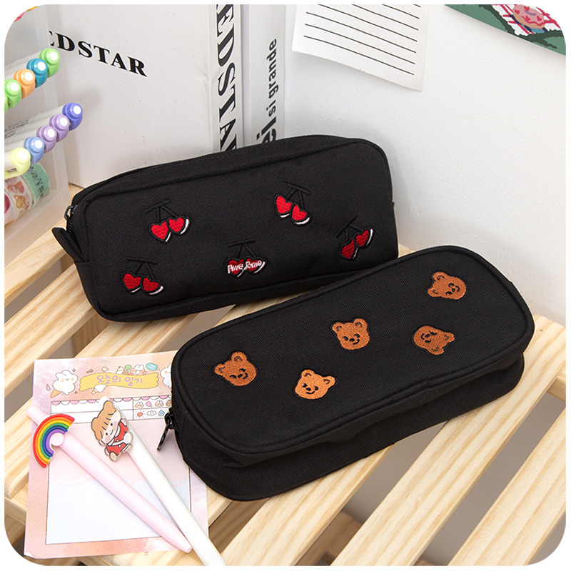 Kawaii Pencil Case Retro Style Art Ins Little Fairy High Face Value Bear Bear Pencil Case Pencil Pouch School Supplies