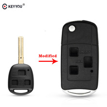 KEYYOU Remote Flip Folding Key Case 3 Buttons For Lexus IS200 GS300 RX300 LS400 Fob Car Key Shell Replacement