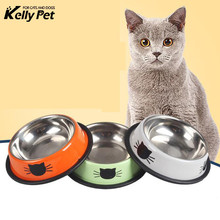 Dog Cat Food Bowls Stainless Steel Pets Drinking Feeding Bowls Tools Pet Supplies Anti-skid Dogs Cats Water Bowl Pet Product new dog cat bowls stainless steel food bowl travel feeding feeder water bowl anti skid dry food pet bowl drinking water dish