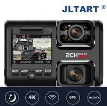 Camera dupla visão noturna dvr para carro, 4k 2160p wi-fi gps logger lente dupla chip novatek 96663 sensor sony imx323 dual gravador de câmera d30h para painel
