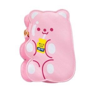 Image 5 - Bentoy PU skórzane dziewczyny Crossbody torba galaretki niedźwiedź telefon organizator torby na ramię słodkie laserowe dziewczyny uroczy prezent dla nastolatka