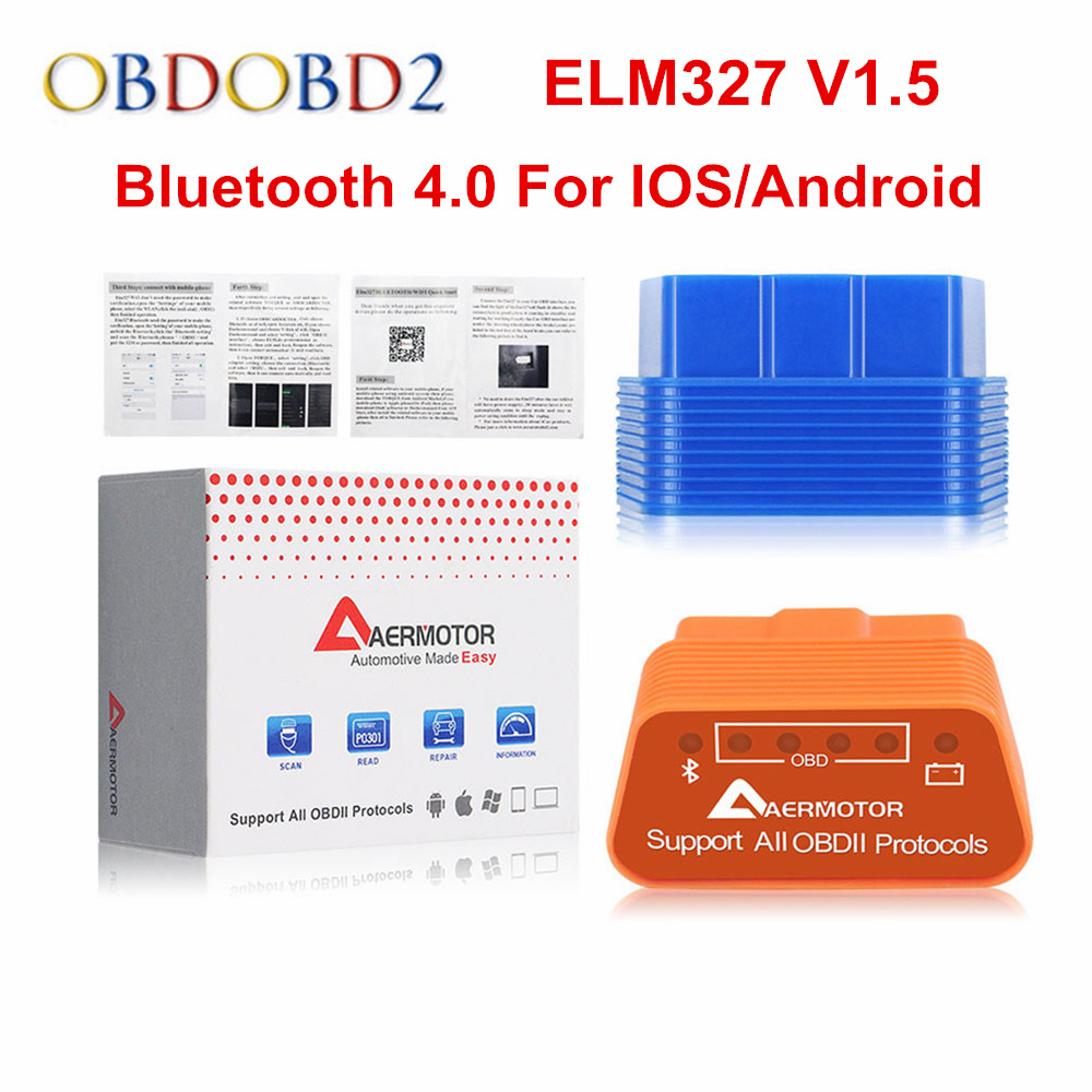 Aermotor ELM327 V1.5 Bluetooth 4.0 ELM 327 1.5 OBD2 Car Diagnostic Tool For Android/IOS OBDII BT V4.0