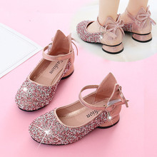 Buy Gold Silver Pink Childrens leather Shoes Girls Kids Rhinestone Princess Shoes For wedding And Party Girl dance shoes 3 4 5-14T directly from merchant!