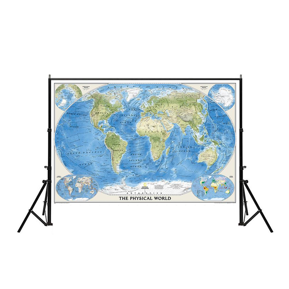 Physical Map Of The World 150x225cm Non-woven Waterproof World Map Without National Flag For Education