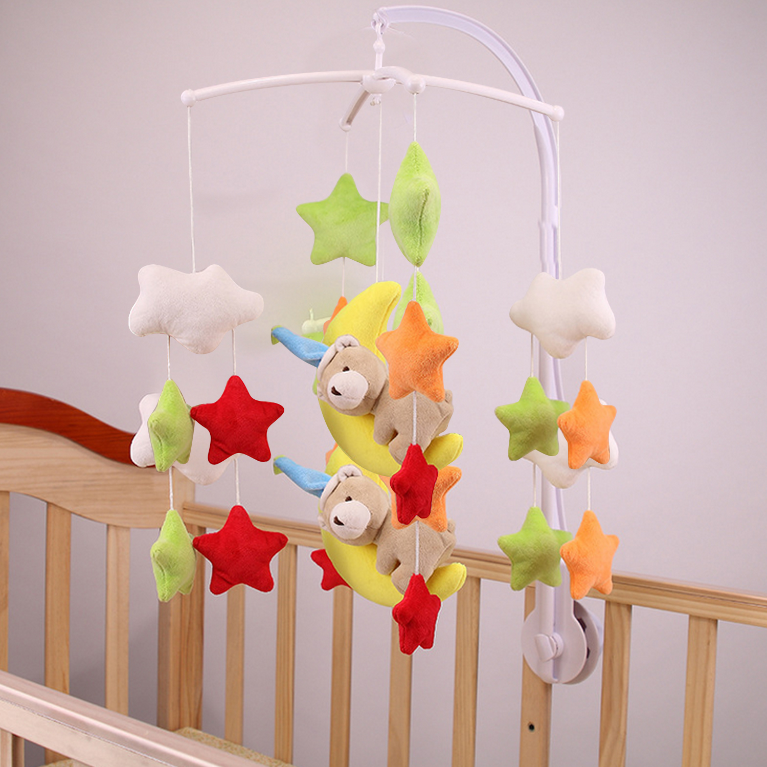 Infant Baby Clockwork Bed Stroller Music Rotary Wind Chimes Rattles Bell Toys