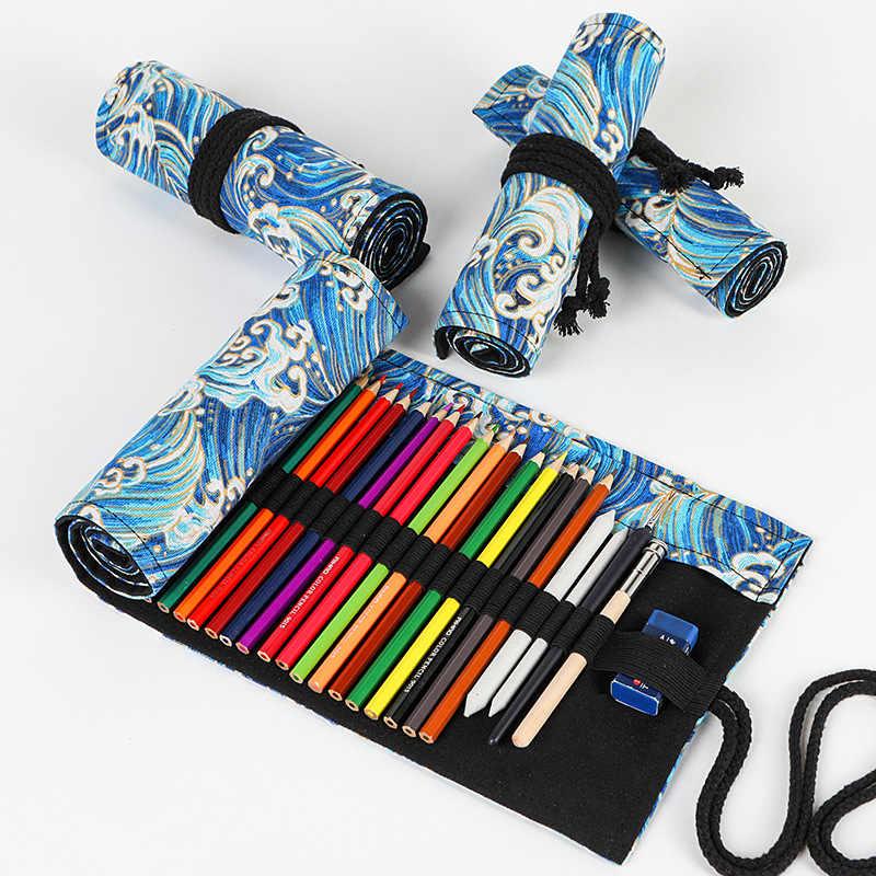 Kawaii Penal 12/24/36/48/72 หลุมโรงเรียน ROLL ดินสอสำหรับหญิง Pencilcase ผ้าใบ Penal ปากกากระเป๋าขนาดใหญ่ Penalties กล่อง