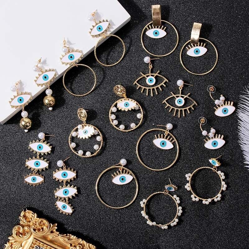 2020 Summer Fashion Pearl Evil Eye Drop Earrings for Women Trend Exaggerated Personality Blue Eye Hoop Earrings Party Jewelry