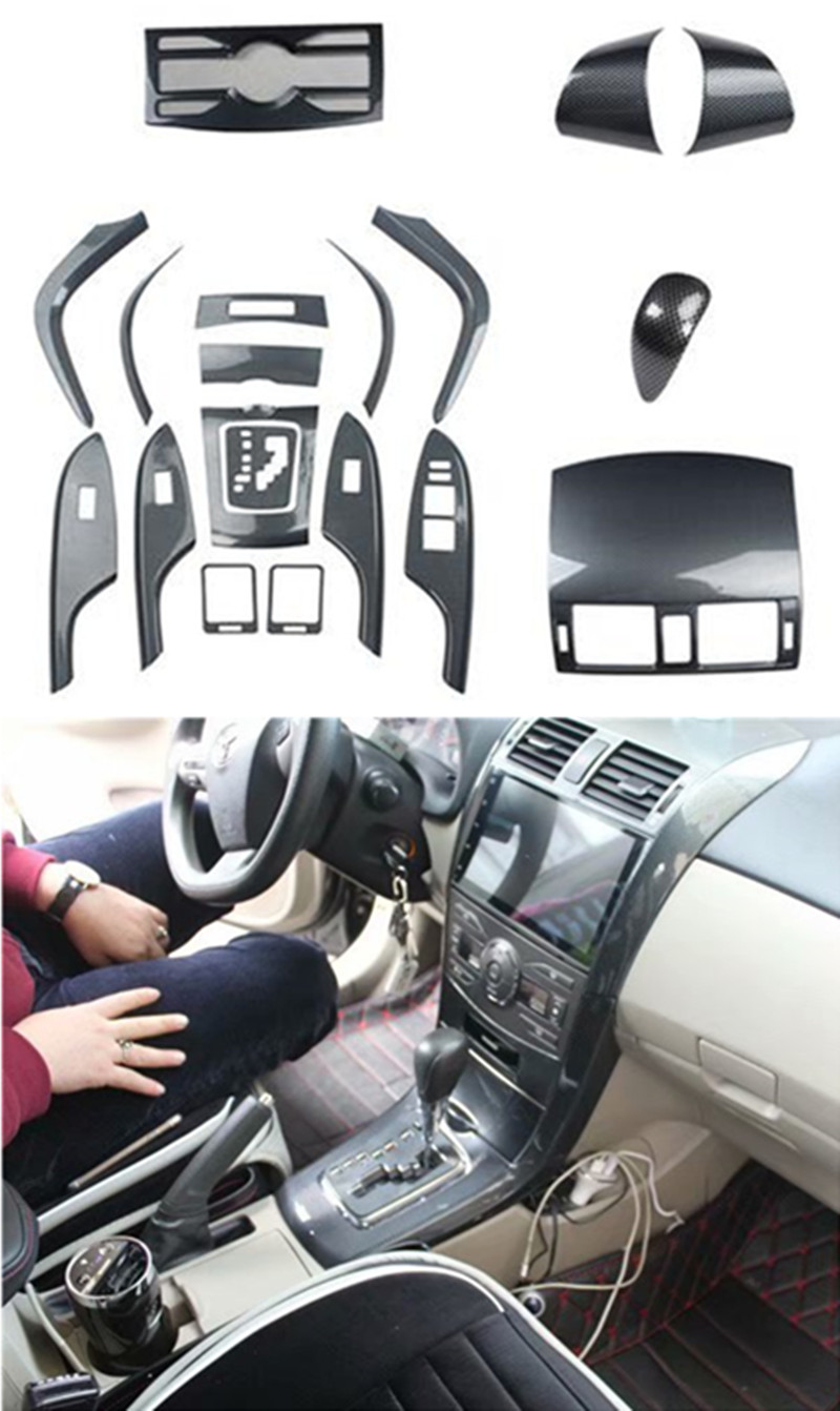 1lot Car Stickers ABS Carbon Fiber Grain Inside Decoration Cover For 2007-2012 Toyota Corolla MK10