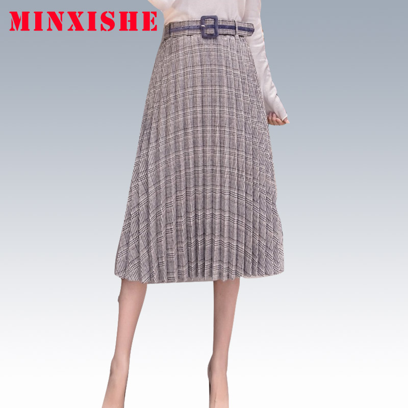 Skirts Faldas Womens Autumn Winter 2019 Plaid Checkered Midi Long Pleated Plisadas Tartan Streetwear High Waist Skirt Jupe Women