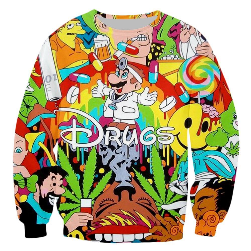 PLstar Cosmos Drop Shipping Drugs&weed Men Women Sweatshirt Couples Sweats Unisex Sweatshirt Red Wine 3D Print Cartoon Hoodies