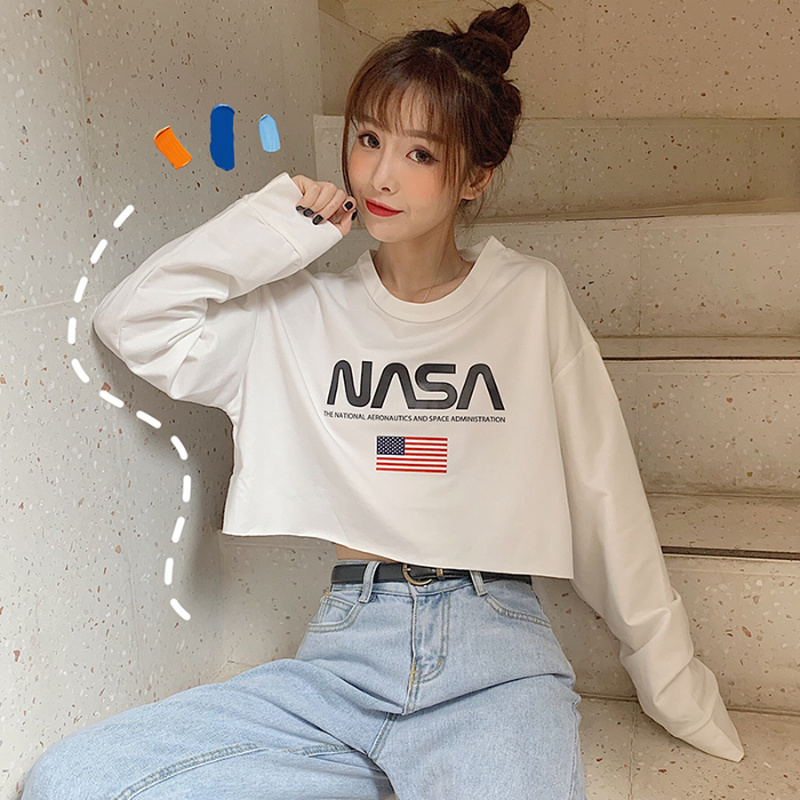 Streetwear Casual Women Cropped T Shirt Full Sleeve Short Top Female Fashion Crop Tops Spring Letter Tee Shirt Femme