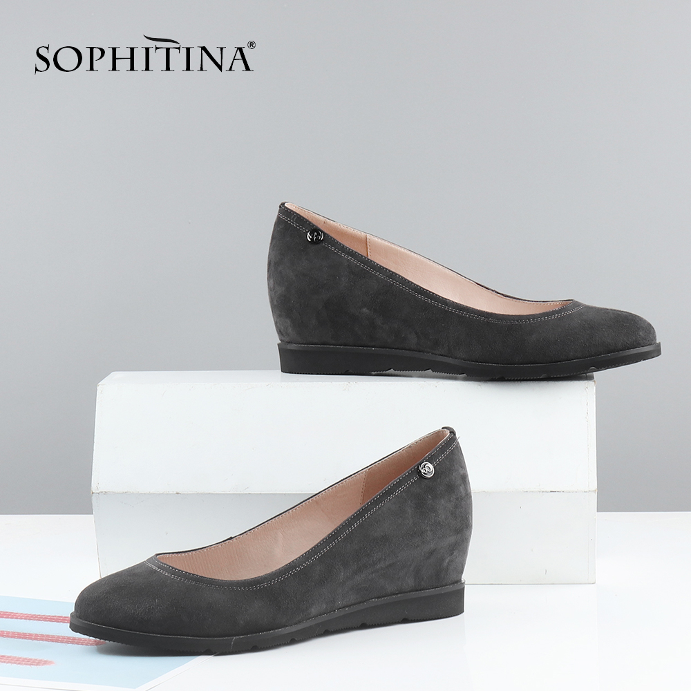 SOPHITINA Wedge Solid Pumps High Quality Kid Suede Internal Increase Round Toe Convenient Women Shoes Fashion Leisure Pump C599