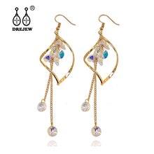 DREJEW Gold Silver Leaf Pearl Crystal Rhinestone Statement Earrings Sets Tassel 925 Drop Earrings for Women Wedding Jewelry 702 цена и фото
