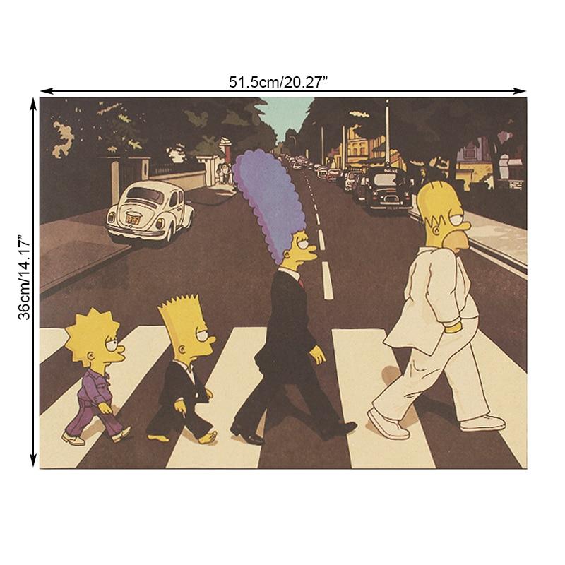 DLKKLB классический аниме плакат Симпсоны рок-группа стиль пересечение дороги крафт-бумага Бар Кафе Декор Плакат стикер стены