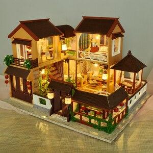 Image 4 - 子供たちのおもちゃdiyドールハウス組み立てるミニチュアドールハウス家具ミニチュアドールハウスパズル教育玩具子供のため