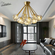 Nordic All Copper Crystal Ceiling Lamp Chandelier Lighting Fixtures Modern LED Living Room Light Luxury Bedroom Decor Luminaria