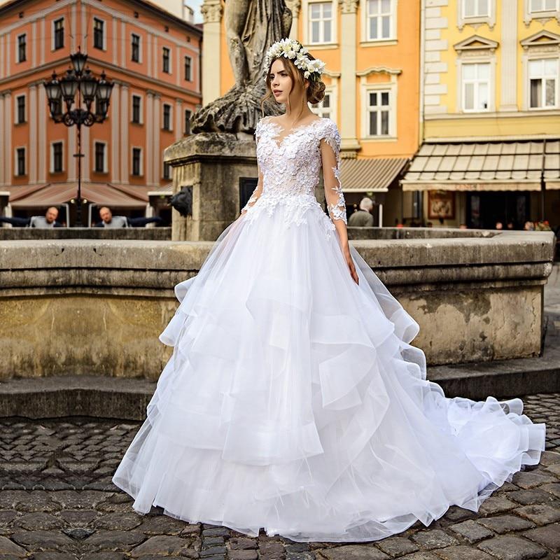 Eightale Vintage Wedding Dresses O-Neck Appliques Lace Long Sleeves Ruffles Tulle Wedding Gowns Princess Bridal Vestido De Festa