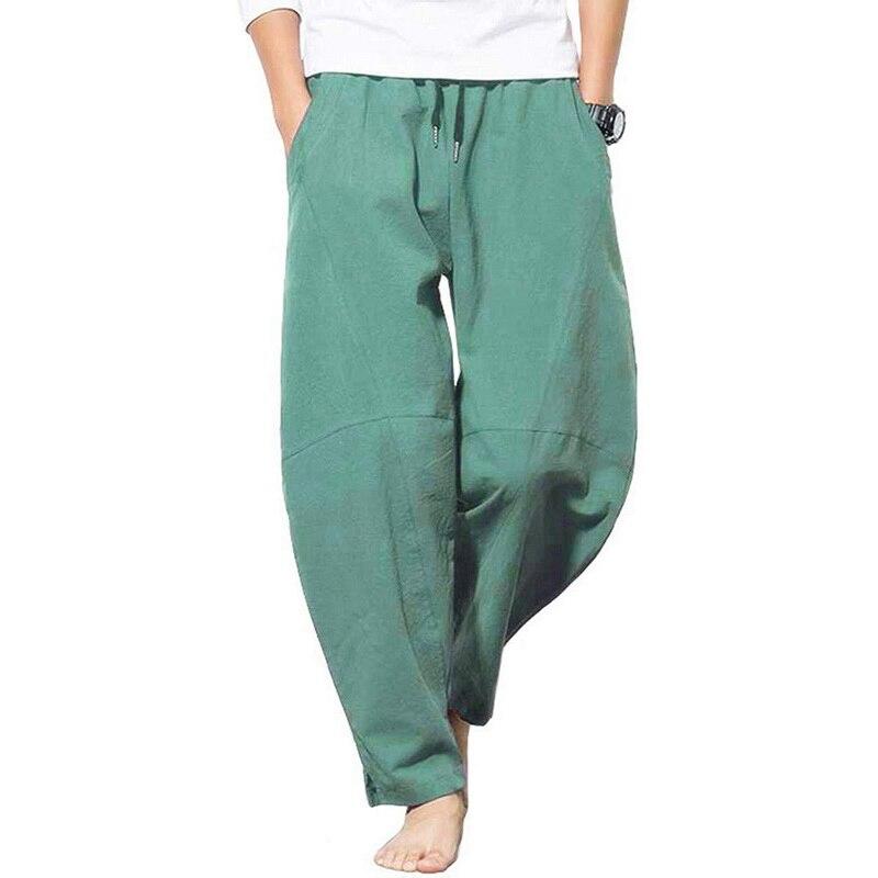JODIMITTY 2020 Summer Men Cotton Trousers Linho Verao Homens Loose Straight Pants Men Fashion Solids Harem Linen Trousers Pants