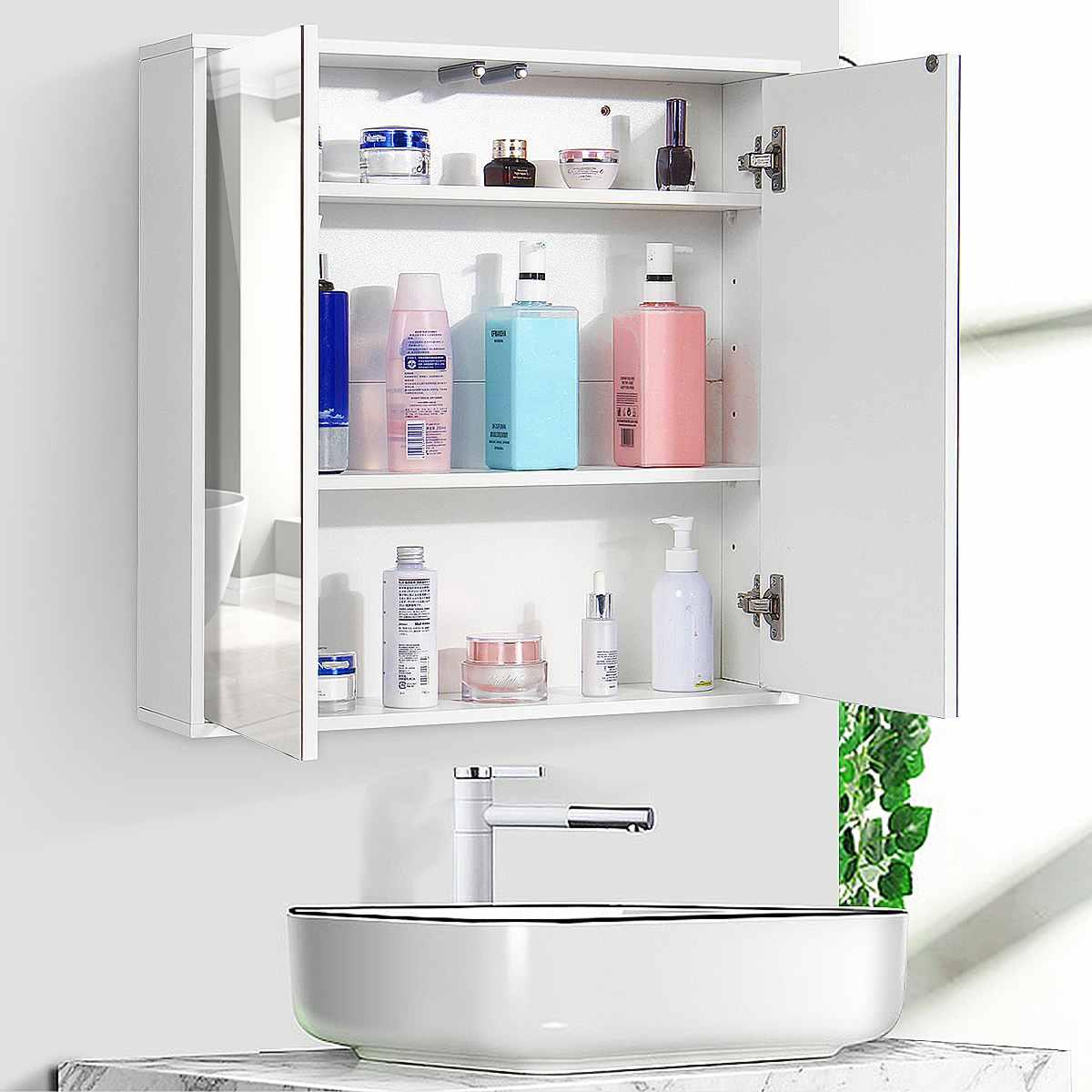 60x60x14.5cm Bathroom Cabinet Wall Mounted Bathroom Toilet Furniture Mirror Cabinet Cupboard Shelf Cosmetic Storager UK Stock