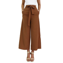 Women Streetwear Wide Leg Pants Bow Tie Drawstring Casual Loose High waist Harem Pants Elegant Office Palazzo Pants Solid Trouse недорого