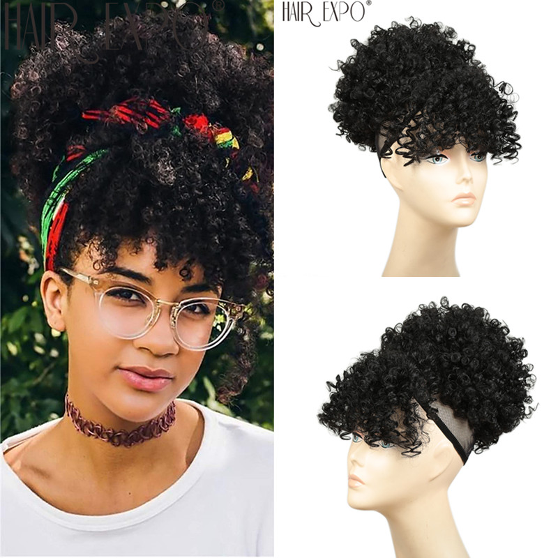 High Puff Afro Kinky Curly Synthetic Ponytail With Bangs Short Chignon Hair Extension Drawstring Clip Hair For Black/White Women