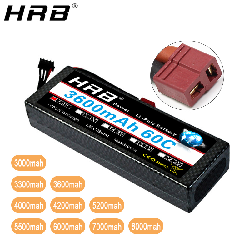 HRB 2S <font><b>7.4V</b></font> <font><b>Lipo</b></font> <font><b>Battery</b></font> <font><b>3000mah</b></font> 3300mah 4000mah 6000mah 7000mah 8000mah Deans T XT60 Hard Case For Airplanes 1/10 Car RC Parts image