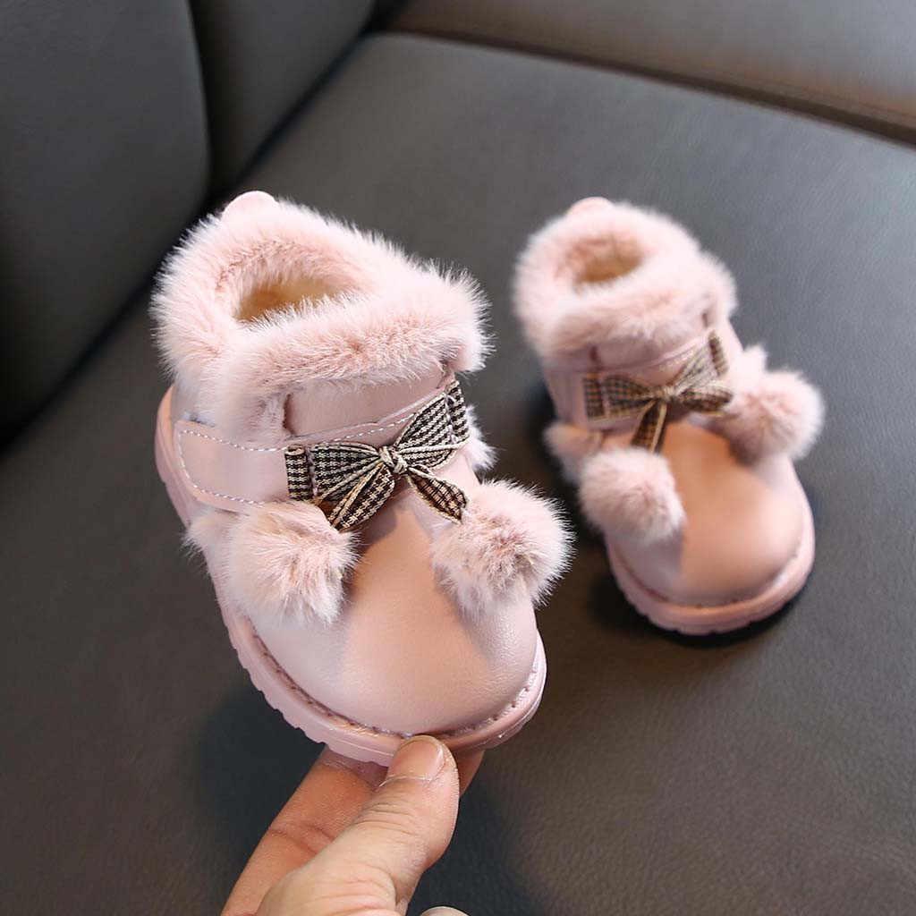 เด็กทารกเด็กหญิงรองเท้าข้อเท้าสั้นรองเท้าสบายรองเท้า Hook & LOOP ยางเด็กสาวฤดูหนาวรองเท้า