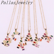 10Pcs Rainbow CZ Micro pave Letter Intitial necklace Gold Filled Colorful Cubic Zirconia Pendant Charm For Women