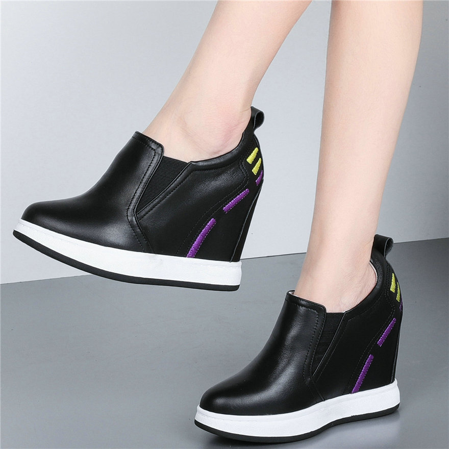 Fashion Sneakers Women Genuine Leather Wedges High Heel Pumps Shoes Female Slip On Round Toe Platform Oxfords Shoes Casual Shoes
