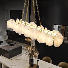 New luster chandelier luxury copper living room LED chandelier modern natural marble dining room rectangular decorative lamp