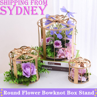 3PCS Metal Round Flower Bowknot Gift Box Stand Party Wedding Candy Large Package box Set Aisle Decor Props Home decoration DIY