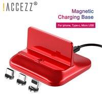 ¡! Base de carga rápida magnética ACCEZZ  Puerto Micro USB de 8 pines tipo C para iphone 8 X Plus XS para Samsung Xiaomi Huawei  soporte de carga magnético