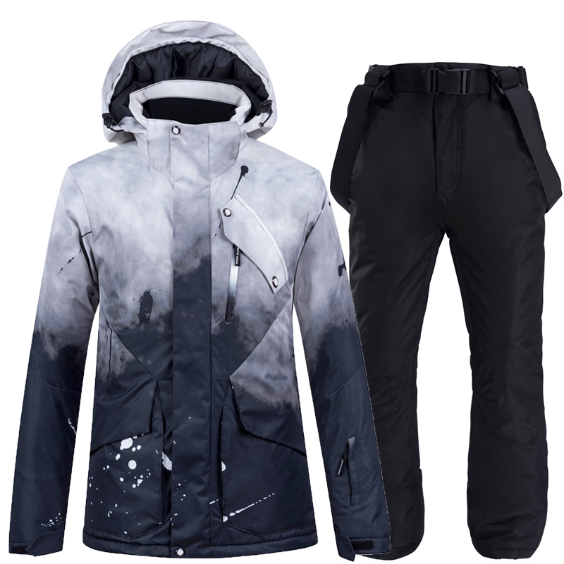 -30 Fashion Black Women Snow Wear Snowboarding Suit Sets Waterproof Windproof Winter Costume Ski Jacket And Strap Snow Pant