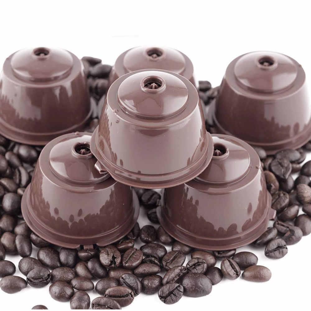 4 個コーヒーカプセルフィルターカップ再利用可能ネスカフェドルチェグスト詰め替えキャップスプーンブラシフィルターバスケットポッドソフト味甘い