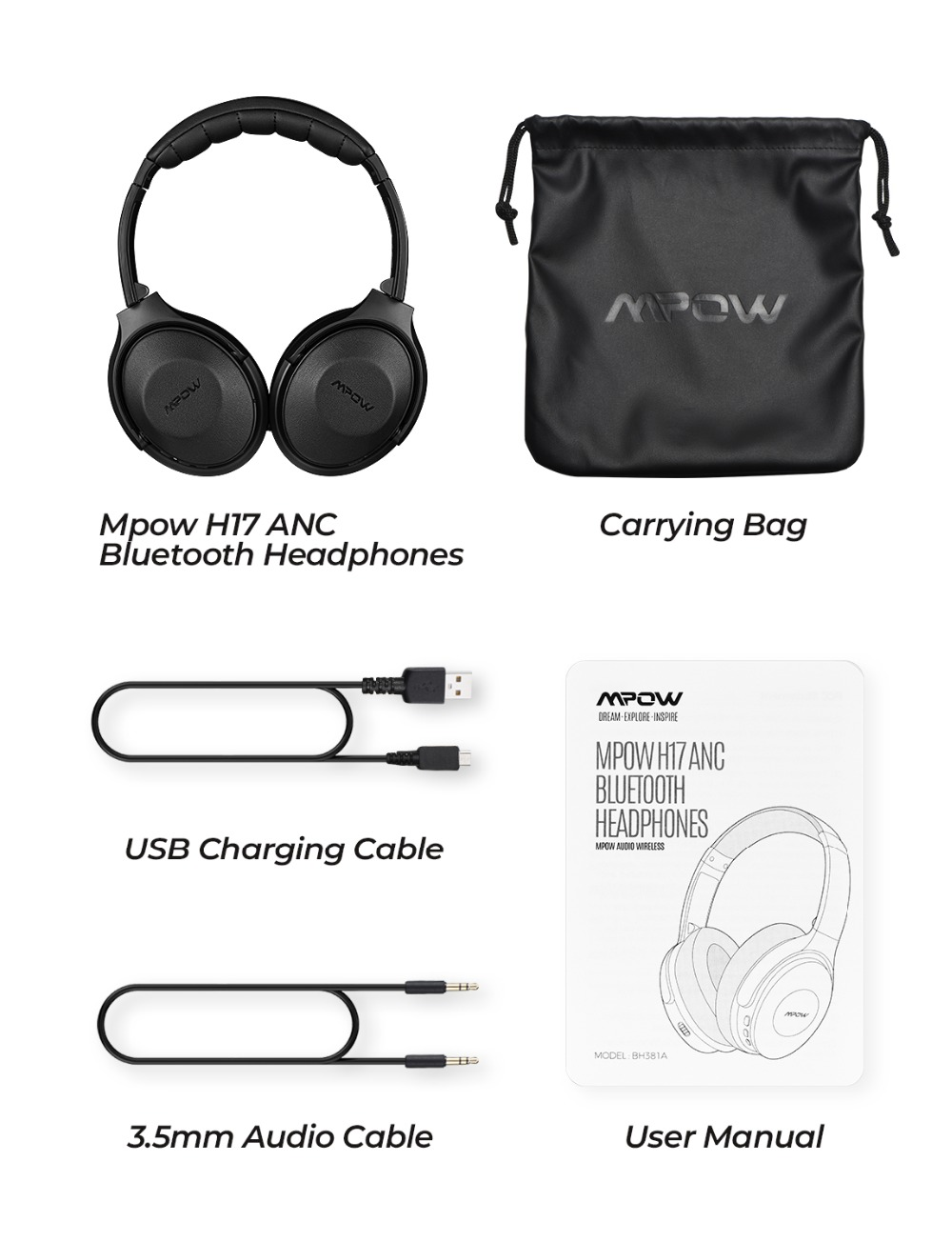 Mpow H17 Wireless Headphone Bluetooth ANC Headphones Fast Charging Active Noise Cancelling Headset For Huawei P30 Pro iPhone X 6 (7)