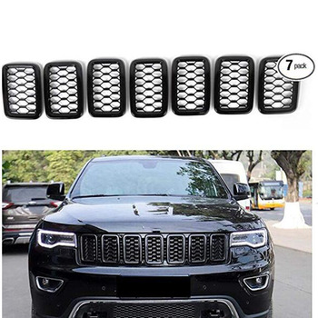 7Pcs Front Grille Grill ,Grill Cover Trim Kit for 2017-2019 Jeep Grand Cherokee Carbon Fiber