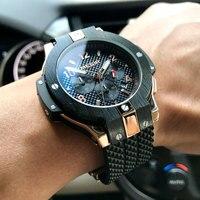 Reloj de pulsera de cuarzo deportivo para hombre, cronógrafo militar de silicona negra, cronógrafo, 2050G